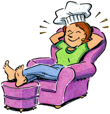 Smiling woman wearing chef's hat and relaxing in armchair