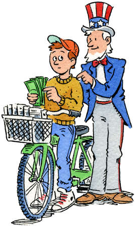 Uncle Sam tapping on shoulder of paperboy holding money