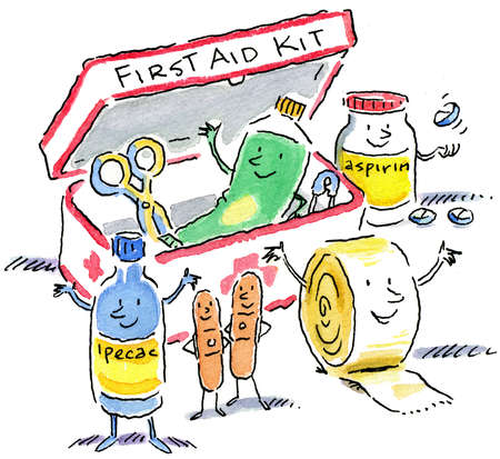 Anthropomorphic first aid kit items