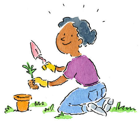 Woman potting plant in garden