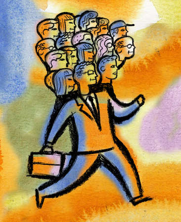 Businessman with people's heads on shoulders