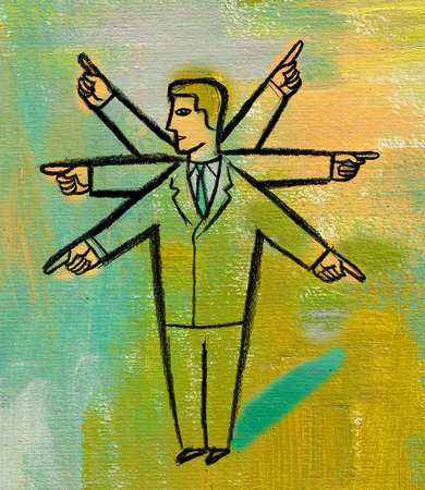 Businessman with multiple arms pointing in different directions
