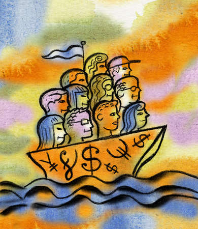 People's heads forming sail on sailboat with currency symbols