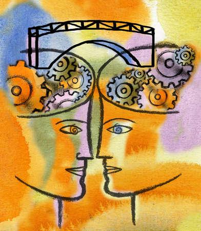 Bridge connecting cogs in people's heads