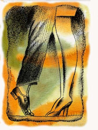 Man standing on tiptoes against woman in high heels