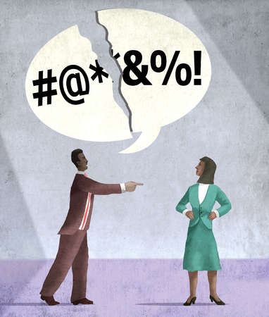 Businessman pointing at businesswoman with broken speech bubble overhead