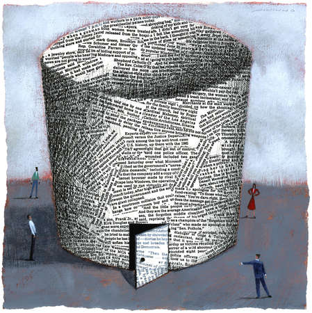 Business people standing outside round building made of newsprint