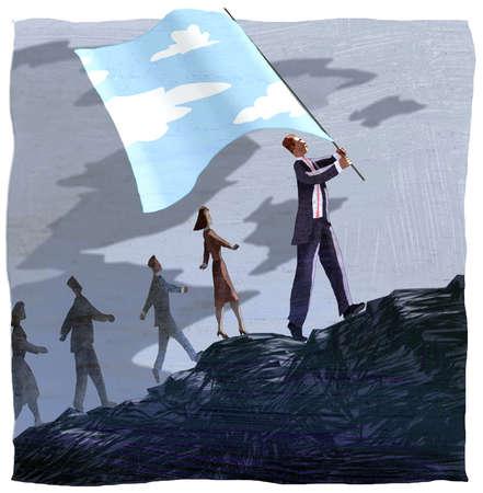 Businessman with color sky flag leading business people in darkness up hill