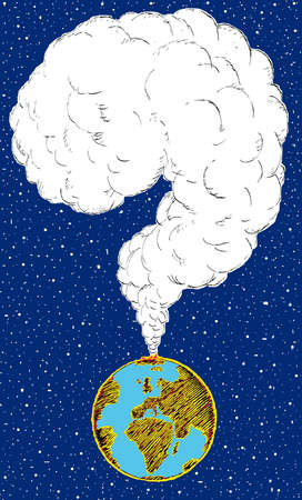 Question mark pollution cloud emerging from globe