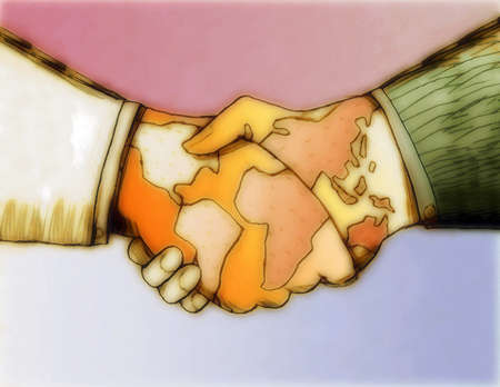 Businessmen shaking hands covered with global maps