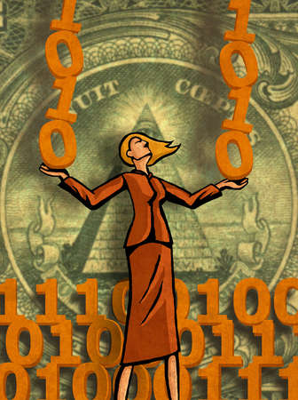 Businesswoman balancing binary code with dollar bill in background