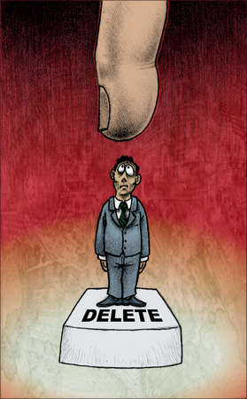 Large finger above businessman standing on 'Delete' button