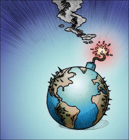 Globe with burning fuse