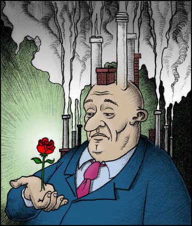 Smokestacks emitting smoke from head of businessman holding rose