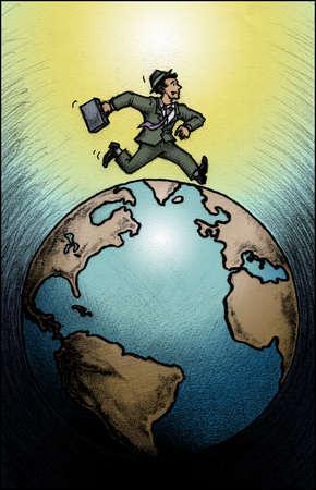 Businessman running on globe
