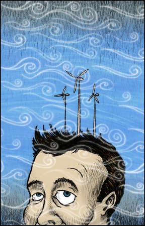 Wind blowing around man with wind turbines on head