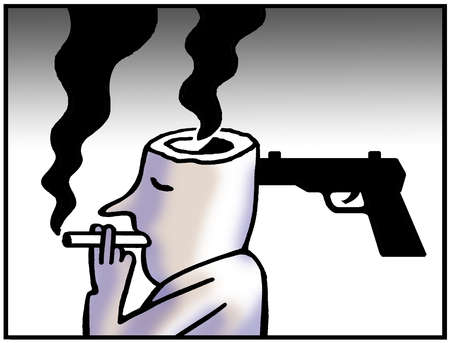 Man with gun in head smoking cigarette