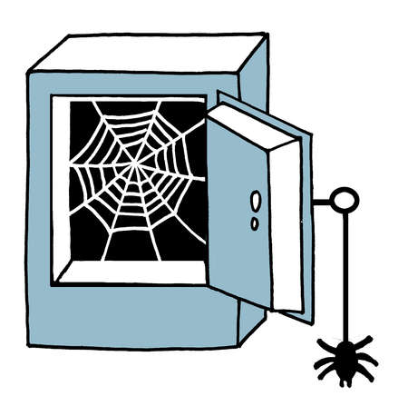 Spiderweb inside empty safe