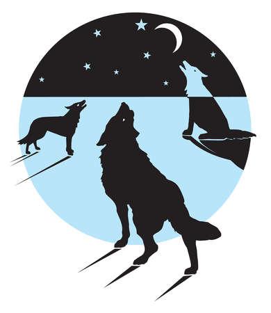 Wolves howling at moon