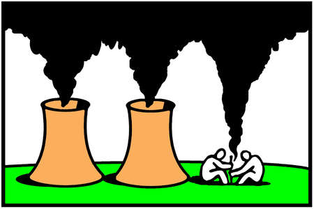 Men building fire near nuclear power plants