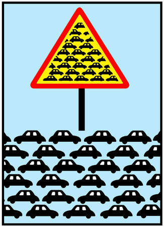Cars and road sign