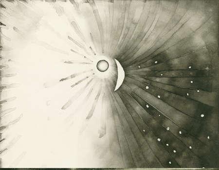 Sun shining on moon and stars