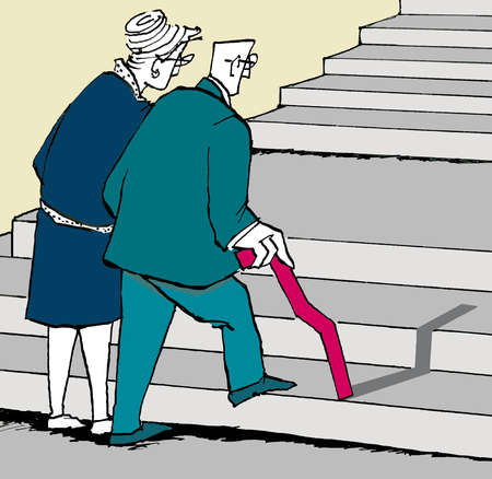 Senior couple walking up stairs