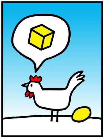 Chicken thinking of square egg