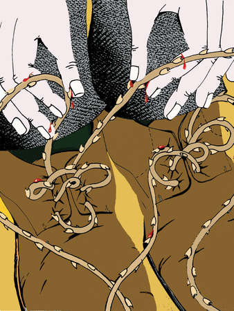 Man tying thorny shoelaces