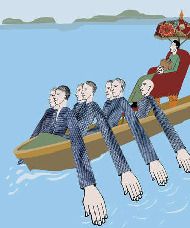 Men paddling boat with arms