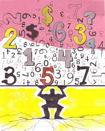 Man holding up numbers