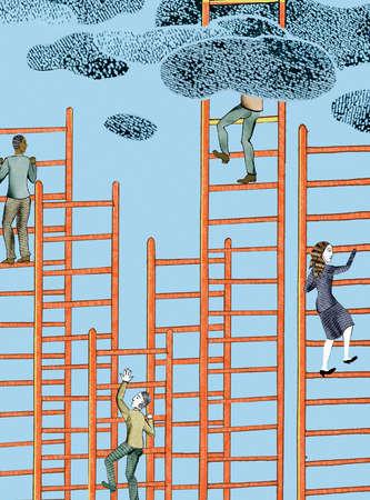 People climbing ladders