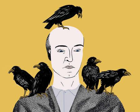 Ravens on bald man's head