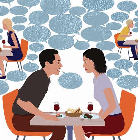 Couple arguing over dinner