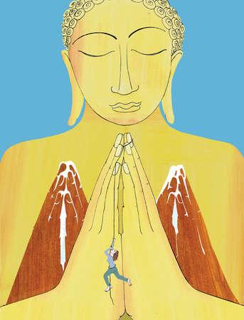 Woman hanging on praying hands