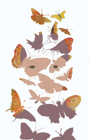 Face transforming into butterflies