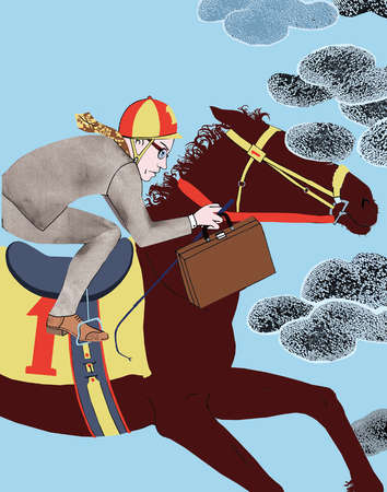 Businessman racing horse