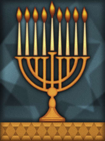 Candles in traditional menorah