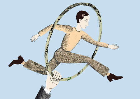 Man jumping through hoop