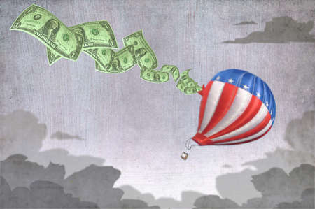 Money flying out of hot air balloon
