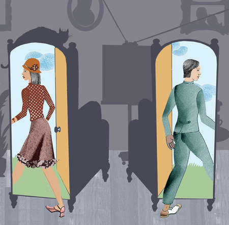 Old-fashioned people walking through mirrors