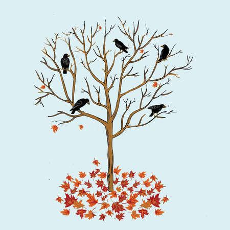 Ravens in bare tree