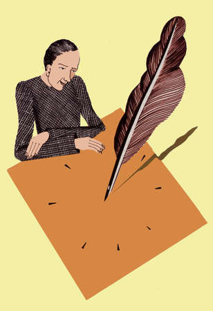 Woman and quill sundial