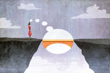 Businesswoman imagining bridge