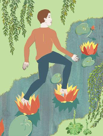 Man walking on lily pads
