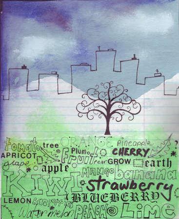 Tree growing on words