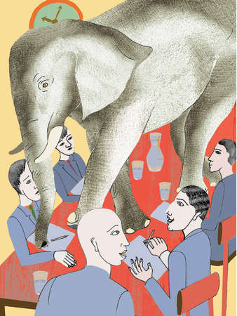 Elephant walking on conference table
