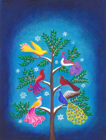 Colorful birds sitting on snowy branches of tree