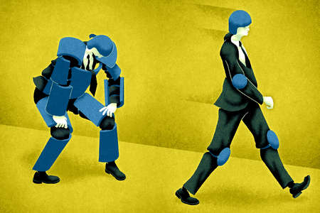Business people wearing protective padding
