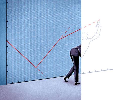 Businessman stretching to draw upward line on graph